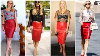 Most Stunning And Gorgeous  Red Leather Midi Pencil Skirts For Girls And Womens
