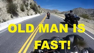 Old Guy on Touring Bike Goes 100+MPH with Crotch Rockets!
