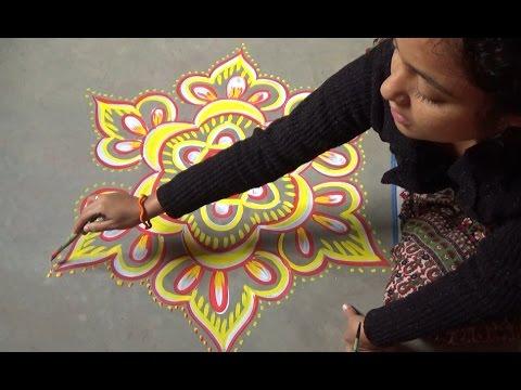 beautiful chowpurna rangoli design