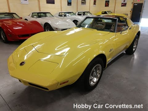 1974 Bright Yellow Corvette Automatic Saddle Interior For Sale Video