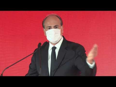 L'AD di FS Italiane Gianfranco Battisti alla presentazione del treno sanitario