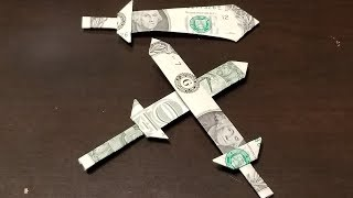 Dollar Origami Sword Quick Tutorial - How To Make A Dollar Origami Sword
