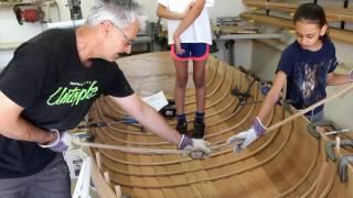 Steam bending frames in a wooden boat