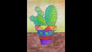 Mexican Folk Art Cactuses Drawing/Painting