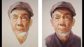 Watercolor portrait painting tutorial - old man portrait
