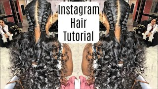 Instagram Inspired French Braids & Ponytail Curls Hairstyles Tutorial | Protective Hairstyle