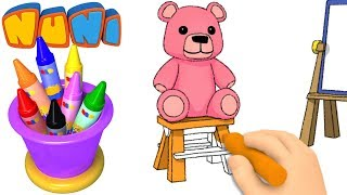 NuNi Art | Teddy bear drawing for kids| coloring videos