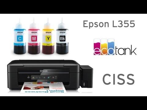 Epson EcoTank L355 Drucker mit CISS Tank und Tintenflaschen