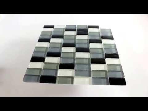 Mosaik Glas Fliesen Weiss Grau Schwarz Mix