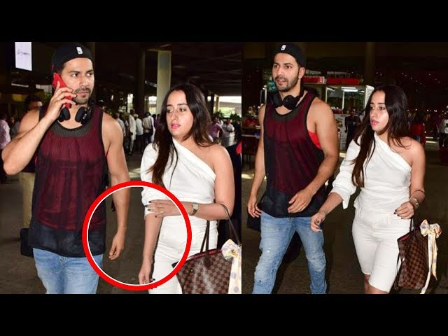 Lovers Varun Dhawan Natasha Dalal Leave For Vacation Together   Mumbai Airport Spotted