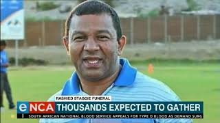 Thousands are expected to gather today for the funeral of a Cape Town gang boss, Rashied Staggie. He died in a hail of bullets in a car parked outside his house last week Friday. Courtesy #DStv403