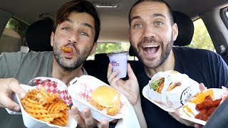 WE TRIED THE WORLDS SMALLEST BURGERS!! (MUKBANG) with JOSH PECK