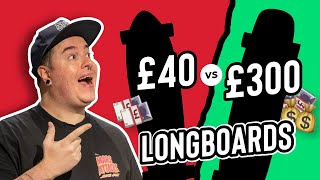 THE CHEAPEST VS THE MOST EXPENSIVE LONGBOARD AT SKATEHUT