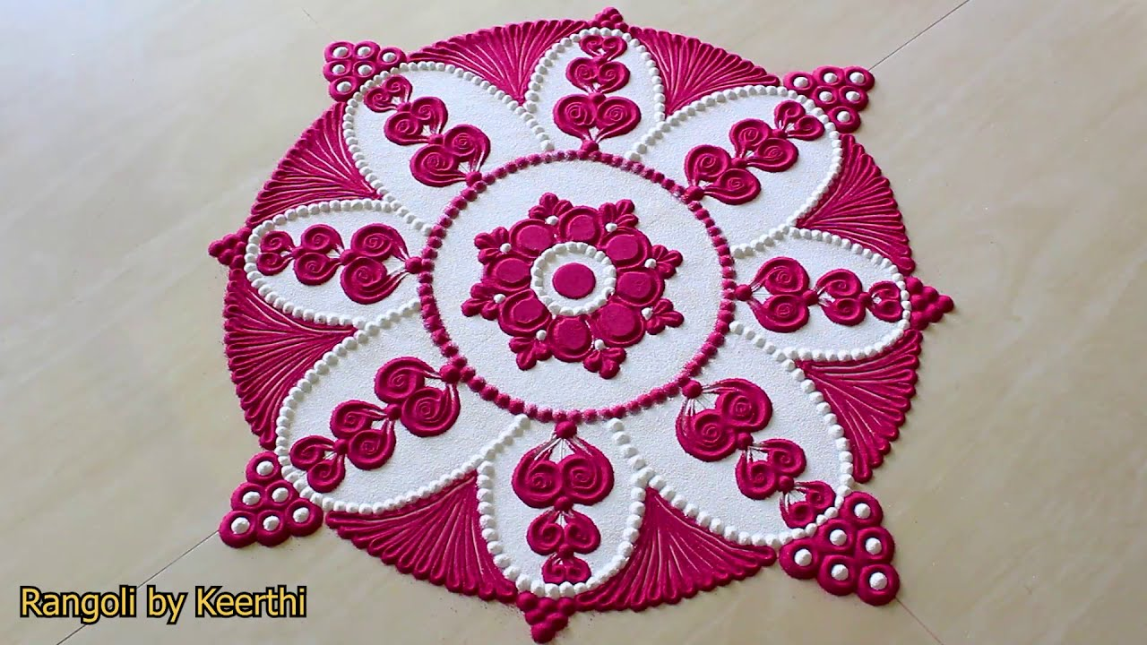 two color rangoli design ideas by keerthi
