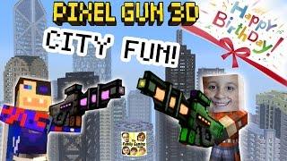Dad & Son play Pixel Gun 3D: Fun in the City!  + Happy Birthday Teevers! (pt. 16)