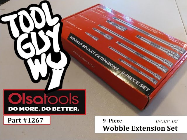 Youtube Video for 9pc Wobble Socket Extension Bar Set by toolguywy