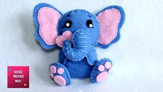 Cute Felt Elephant - DIY: How To Make Cute Felt Elephant / Felt Crafts.