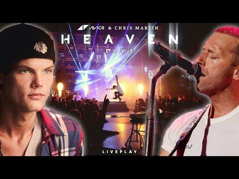 Avicii & Chris Martin - Heaven (live) with LASER SHOW - Lyrics video   Liveplay cover