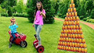 Den Pretend Play with COLORED CUPS and Ride on Mini Sport Bike for funny kids
