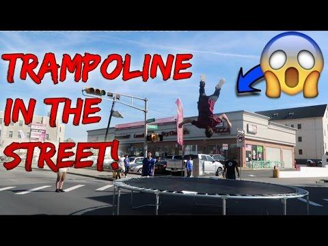 WE BUILT A TRAMPOLINE IN THE STREET! (TRAFFIC TRAMPOLINE)
