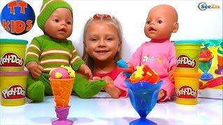 ✔ Кукла Беби Борн и Ярослава из Плей До делают мороженое / Doll Baby Born Play Doh Ice-Cream ✔