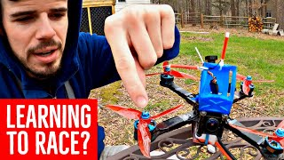 FREESTYLE guy tries drone RACING - Here's my First EVER Backyard Race Course!