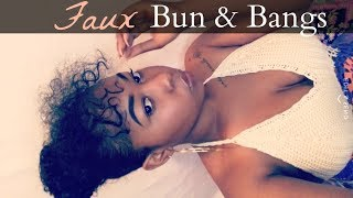 How To: Faux Bun With Curly Bangs On Short Natural Hair | Kinzey Rae