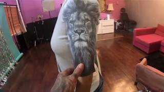 lion tattoo , real time and TIMELAPSE , 1st session