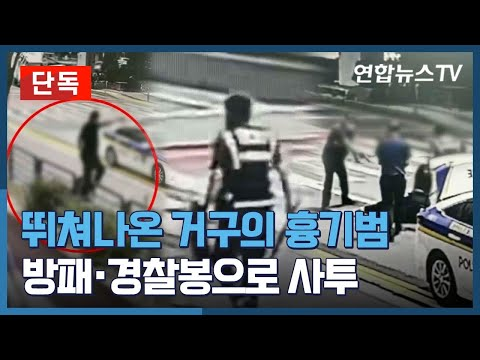 [유튜브] 뛰쳐나온 거구의 흉기범…방패·경찰봉으로 사투