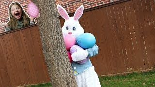 Easter Egg Surprise Toys Scavenger Hunt With REAL EASTER BUNNY!