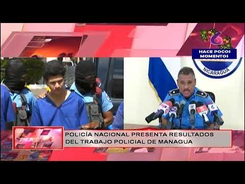 Policía Nacional presenta a delincuentes capturados la semana pasada en Managua