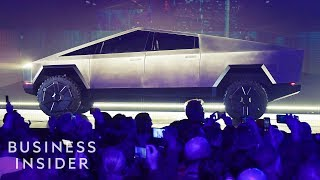 "Tesla revealed the latest in its line of electric vehicles, the Tesla pickup truck at an event near the SpaceX facility in Los Angeles. Called ""Cybertruck,"" the steampunk-inspired offroad vehicle is a complete departure from Tesla's luxury lineup.  ------------------------------------------------------  #Tesla #Cybertruck #BusinessInsider  Business Insider tells you all you need to know about business, finance, tech, retail, and more.  Visit us at: https://www.businessinsider.com Subscribe: https://www.youtube.com/user/businessinsider BI on Facebook: https://read.bi/2xOcEcj BI on Instagram: https://read.bi/2Q2D29T BI on Twitter: https://read.bi/2xCnzGF BI on Amazon Prime: http://read.bi/PrimeVideo  --------------------------------------------------  Watch Tesla Unveil its Pickup Truck in Under 5 minutes"