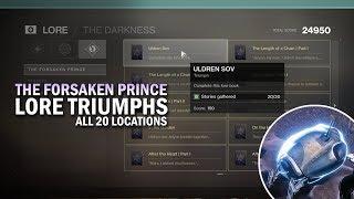"""All 20 """"The Forsaken Prince"""" Lore Triumphs Guide - Item Locations [Destiny 2 Forsaken]"""