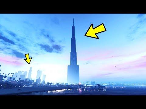 TALLEST BUILDING IN THE UNIVERSE!!! GTA 5 MEGA HUGE SKYSCRAPER MOD