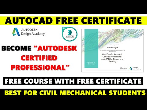 AutoCAD Free Certificate - Autodesk Certified Professional Certification - CAD Online Courses