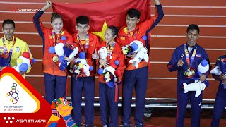 Phần thi 4x400m hỗn hợp nam nữ mang về tấm HCV lịch sử tại SEA Games 30 của điền kinh Việt Nam