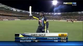 Chris Gayle 92(40) WA vs QA 25-01-11