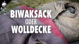 WOLLDECKE ODER BIWAKSACK? Bushcraft Winterübernachtung nach Trapper Art bei eisiger Kälte
