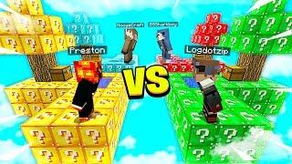 MINECRAFT 1v1v1v1 *OVERPOWERED* LUCKY BLOCK BATTLE with MooseCraft! - Minecraft Mods