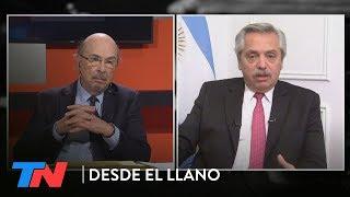 Alberto Fernández mano a mano en DESDE EL LLANO