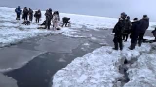 Уходит лед с рыбаками
