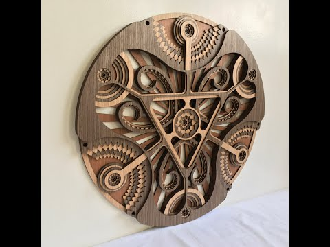 Modern Wall Hangings / Circle - Hypnotic Shapes (Wood Wall Hang Decor, Layered Mandala)