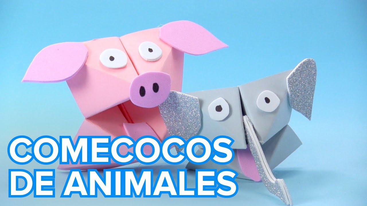 Cómo hacer comecocos de animales con cartulina | Manualidades infantiles