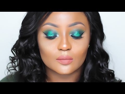 Green Glitter Makeup Tutorial | Nigerian Independence Day Inspired | Youkeyy