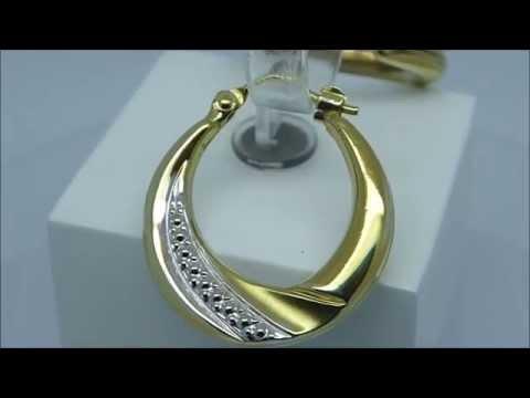 Ohrhänger Creolen 585 Gold Bicolor WG GG diamantiert 10153