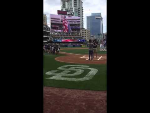 Jazmine Rogers singing the National Anthem at the Padres Game!
