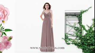 Bridesmaid Dress丨A-Line Long V-Neck Spaghetti Straps Chiffon Bridesmaid Dress – VaniaDress