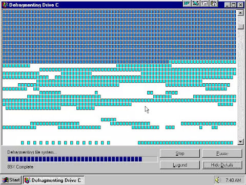 Windows 95 disk defrag.