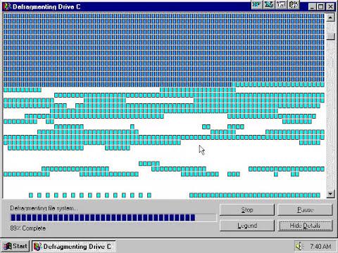Windows 95 disk defrag.