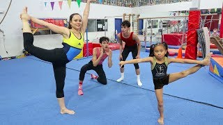 OUR LITTLE SISTER VS MOM GYMNASTICS COMPETITION!